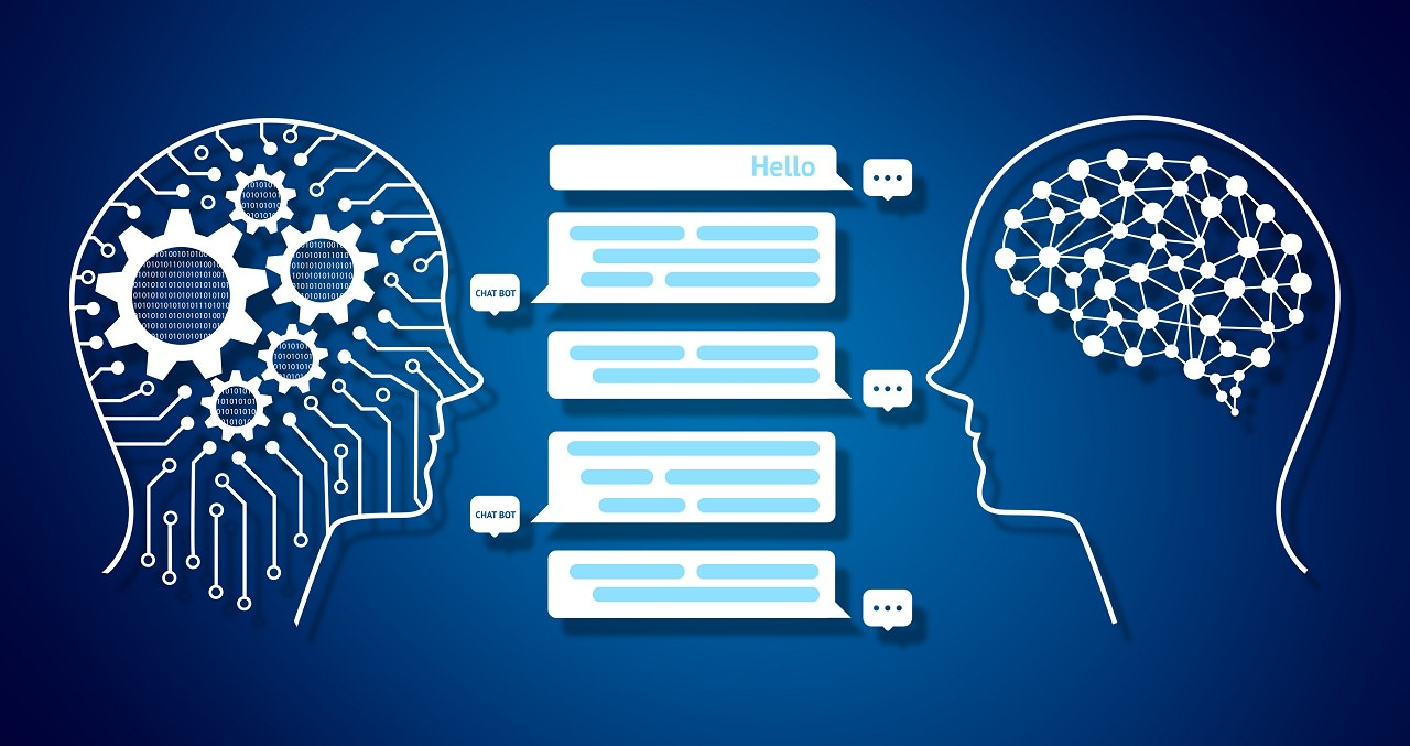 Chat bot and future marketing infographic concept , Automatic graphic chatbot message screen. Robot and human graphic , gears and blue background