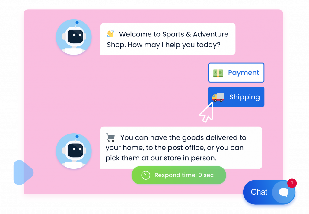 Simple chatbot responding to user's action